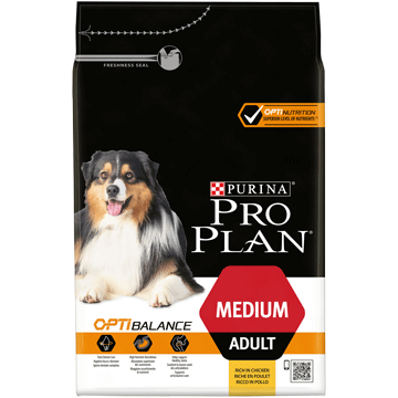 Purina pro plan medium adult with optibalance rich in chicken front 4